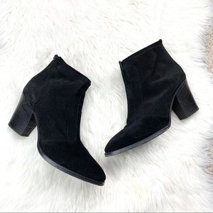 Aquatalia Black Suede Heeled Ankle Booties Boots